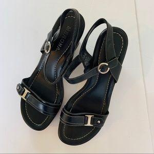 MERONA Black Leather Wedge Heel Sandals Platform